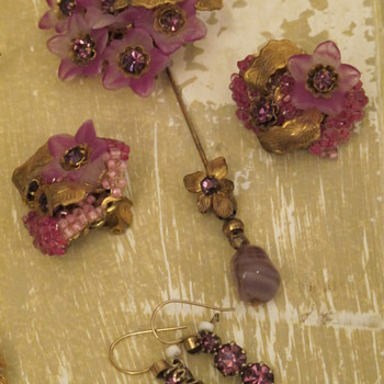 Miriam Haskell Pin & Earrings - Costume Jewelry