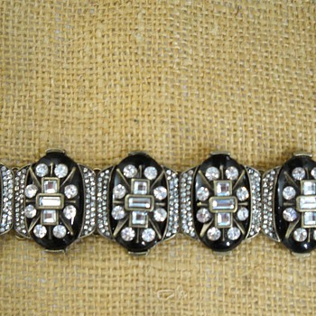 Vintage? Art Deco Black Lucite Rhinestone Bracelet