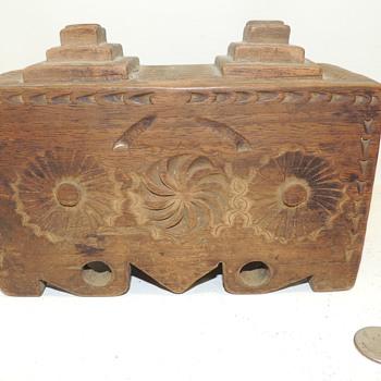 Finely Carved Folk Art Box - Walnut - Date and Origin Unknown - Folk Art