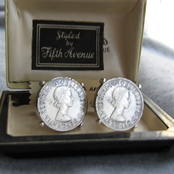 1960's South African coin cufflinks and box