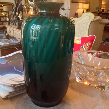 Emerald Green Glass Vase  - Art Glass
