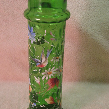Optic Green Enameled Vase Galle?  - Art Glass