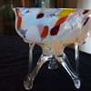 Bohemian Rocket-footed Bowl with Pastel Opalescent Spatter