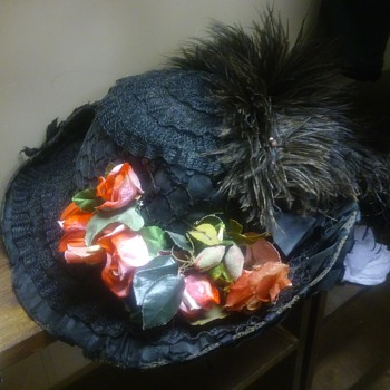 Victorian Hat with Feathers and Flowers - Hats