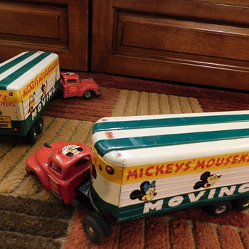 """1950's""""MICKEY'S MOUSKEMOVERS"""" TIN """"FRICTION DRIVE"""" 2 PIECE MOVING VAN(S) ++ - Animals"""