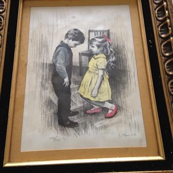 Pastel girl and boy artwork - Fine Art