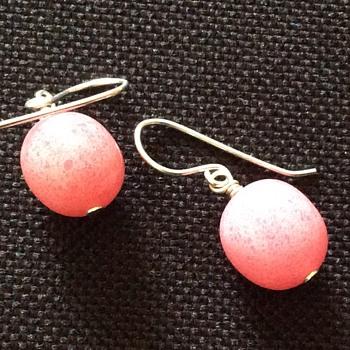 Vintage silver & pink stone earrings