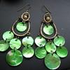 Vintage Green Shell Dangle  Earrings