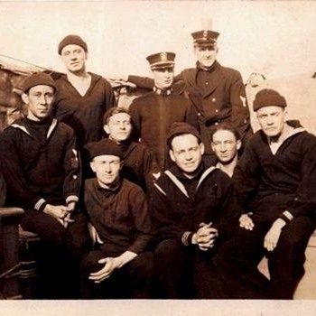 WW11 Photo Postcard SAILORS ON SHIP THAT SANK AT PEARL HARBOR