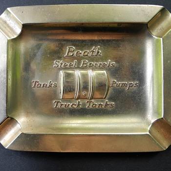 W.D.Beath Toronto c1930? Bronze Ashtray ,Truck fuel tank Mfr. - Tobacciana