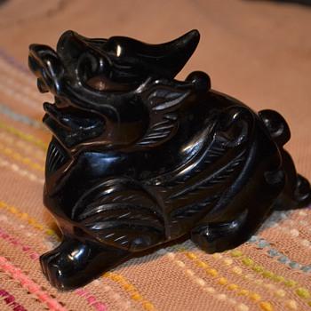 Carved Obsidian Kylin / Quyrin / Kirin