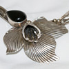 Sterling silver large leaf like with black tear shaped setting
