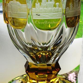 Etched Souvenir Glass with South German Castle Bohemia 19.Cent. - Art Glass