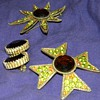 Vintage '70's?  Metal and Large Stone Brooches