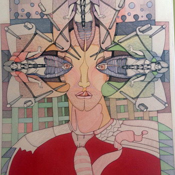Signed Eduardo Arderi Vintage Psychedelic Original Drawing dated 1974 - Fine Art