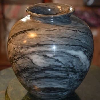 Carved / Turned Marble Vase - Gemstones