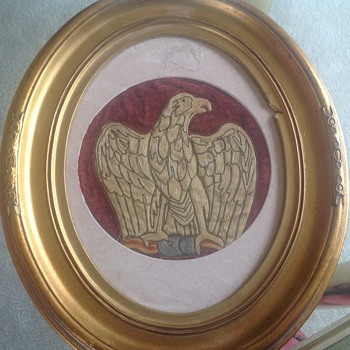 Victorian embroidered eagle I  frame - Victorian Era