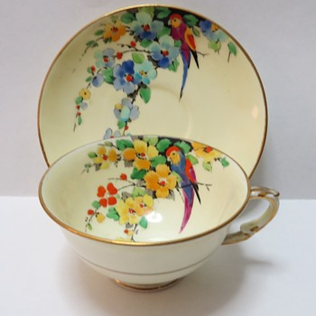 Crown Staffordshire Cup and saucer - Hand Painted Parrots - China and Dinnerware