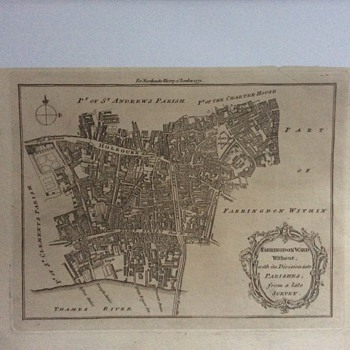 Map of Farringdon Ward by Emanuel Bowen printed 1772