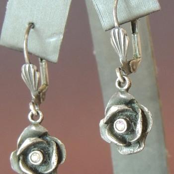 Hanging Flower Earrings - Sterling & CZ? - Costume Jewelry