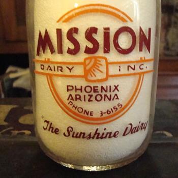 Two color Mission Cop The Cream Milk Bottle....