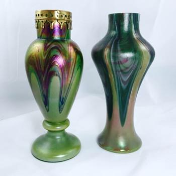 Rindskopf Purple Metal Collar & Green Feathered Iridescent Pair Vases   - Art Glass