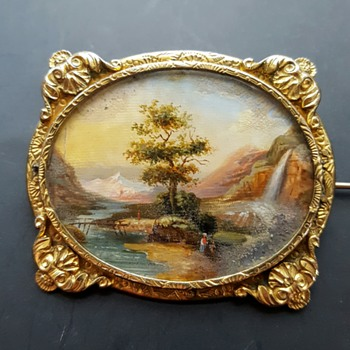 Antique 1840 pinchbeck swiss landscape miniature painting under glass brooch. - Fine Jewelry