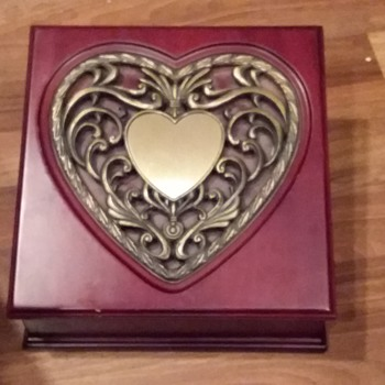 Cherry Tone Large Slant Top Wood Jewelry Box With Large Metal Heart inlay - Fine Jewelry