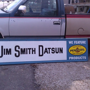 JIM SMITHS DATSUN DEALERSHIP PENNZOIL SIGN PEORIA, IL