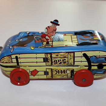 Western Germany Tin Toy - Clown Car - looking for identification - Toys