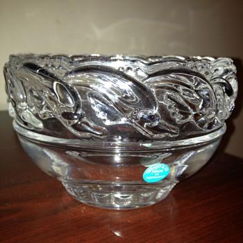 "8"" crystal dolphin bowl - Art Glass"