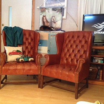 vintage wing back leather chairs - Furniture