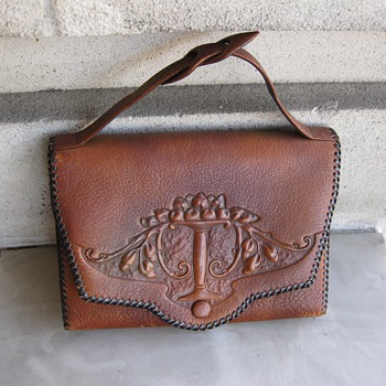 1920's tooled leather handbag - Womens Clothing
