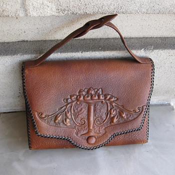 1920's tooled leather handbag