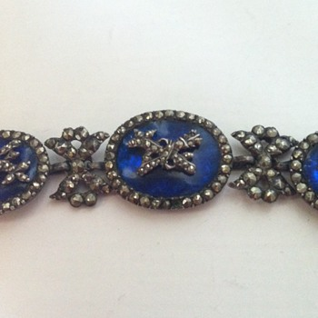 A cobalt blue crystal, silver and marcasite antique necklace. - Fine Jewelry