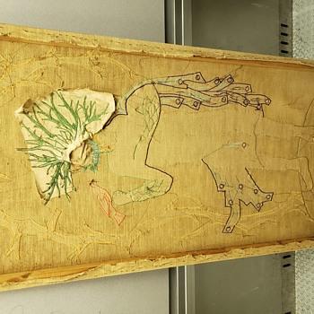 Stitched large portrait on burlap  - Folk Art