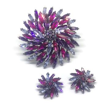 Giant Pinwheel Brooch and Earrings - Costume Jewelry