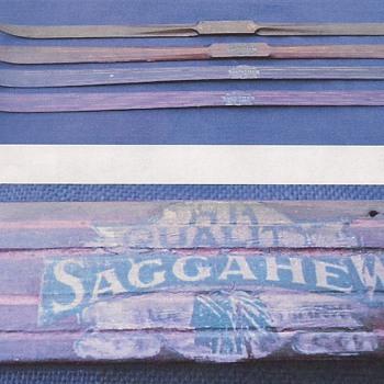 wooden salesman's sample skis, c. 1900