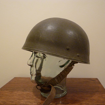 British WWII converted paratrooper steel helmet
