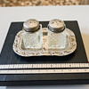 Crystal & Silver Plate Salt & Pepper Shakers with Tray