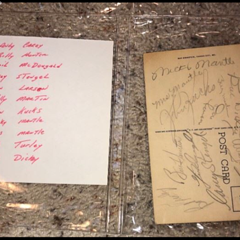Postcard with Mr. and Mrs Mickey Mantle and the New York Yankees team autographs  - Baseball
