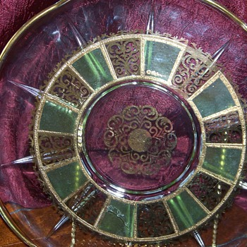Vintage Gold Overlay Oriental Plate - Glassware
