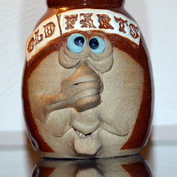 """Old Farts"" Miniature Funny Face Jug - Pottery"