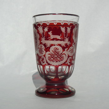 Czech Bohemian Etched Ruby Glass Wine/Water Goblet early 1900's Fox/Hound and Hare Woodland Scene - Art Glass