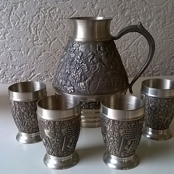 Zinn Becker Stuttgart Filigree Engraved Pewter Mini Pitcher Set Thrift Shop Find $7.50 - Kitchen