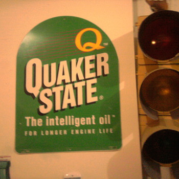 "Quaker State sign and a 60""s era stop light in the garage...  You'll know it's our house! - Petroliana"