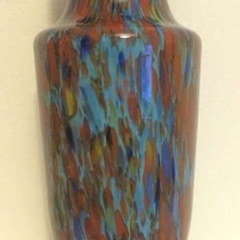 Blue cased spatter glass Art Deco vase - Art Glass