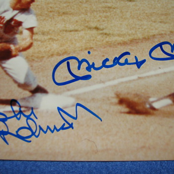 Mickey Mantle and Brooks Robinson Hand Signed Photo - Baseball