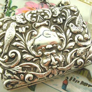 Rare Green Man Art Nouveau Edwardian Silver Purse - Art Nouveau