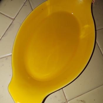 bright yellow oval ceramic dish - China and Dinnerware